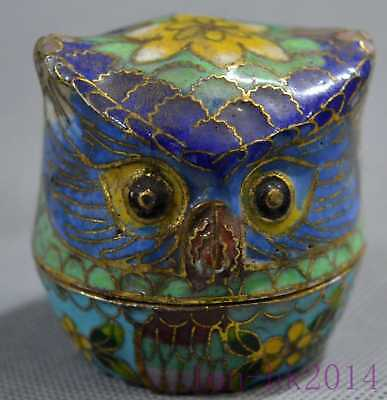Collectable Handwork Cloisonne Carve Flower owl Statue Home Decor Jewelry Box