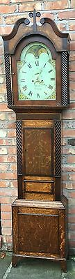 Oak & Mahogany Longcase Grandfather Clock Rolling Moon Robert jones Conwy
