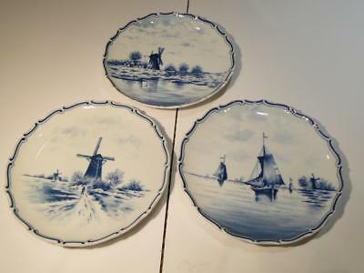 Antique German Delft Cabinet Plates with Ships & Windmills