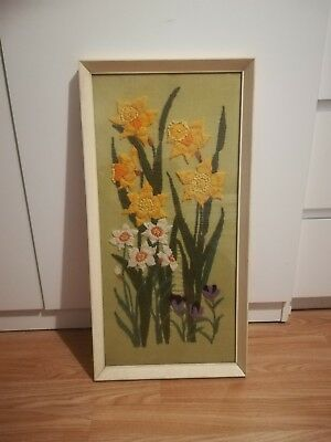 1973 Vintage Hand Embroidered Needlepoint  Flowers Glass Framed Picture