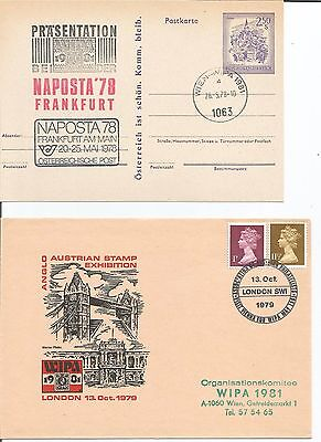 GB  1979 Anglo Austrian Stamp Exhibition Austria WIPA 1981 Naposta '78 Cover x 2