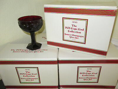Avon 1876 Cape Cod Saucer Champagne Glass Ruby Red Service Set of 8 NEW NIB