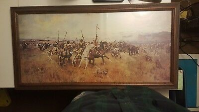 "Native American Art Print 29 1/2"" x 14"" in a 32""×16"" Frame"