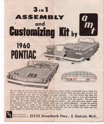1960 AMT Pontiac 3 in 1 Customizing Kit Instruction Sheet No Kit
