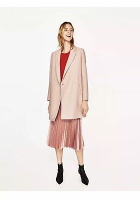 32177ba9 Zara Nude Pink Textured Coat Crossover Fastening Size Xs Bnwt Rrp £69.99