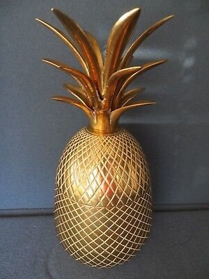 Vintage Heavy Solid  BRASS PINEAPPLE Large Trinket or Ice Bucket / Candle