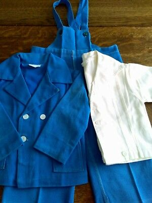 Vintage (1950's) Boys Toddler Suit Denim Lined Jacket Bibs, Shirt Boy Or Doll