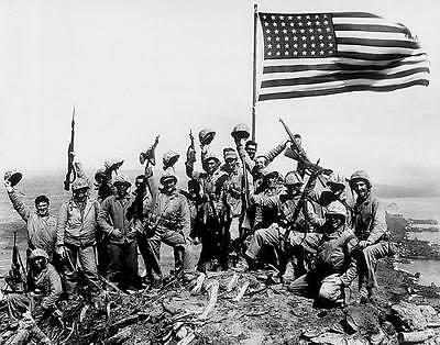 WWII B&W Photo US Marines & Flag Suribachi  USMC Iwo Jima World War WW2 / 1056