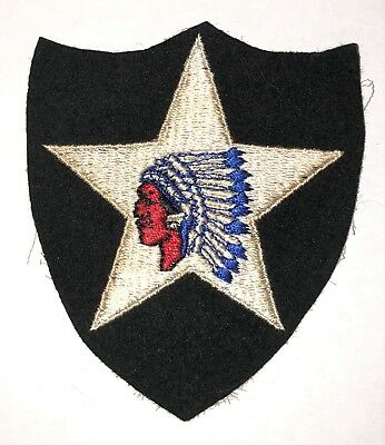 Original WWII US Army 2nd Infantry Division Wool Felt Shoulder Patch..Beautiful!