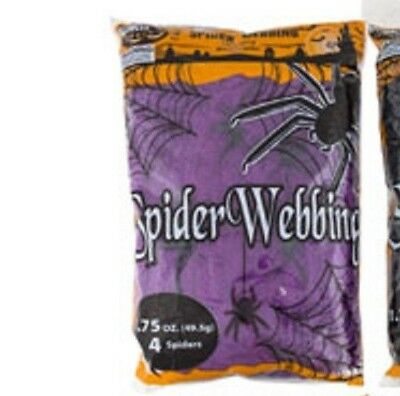 Spider Webbing - Purple 1.7 oz with 4 Spiders Halloween Decoration - Spooky Web
