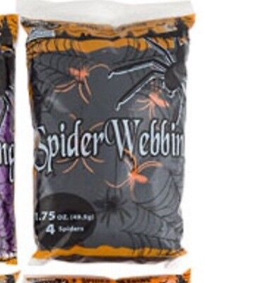Spider Webbing - Black - 1.7 oz with 4 Spiders Halloween Decoration - Spooky Web