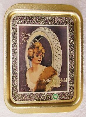 """Kelly-Springfield Tires Vintage Lady 14 3/4"""" Gold Metal Deep Serving Tray VGOOD"""