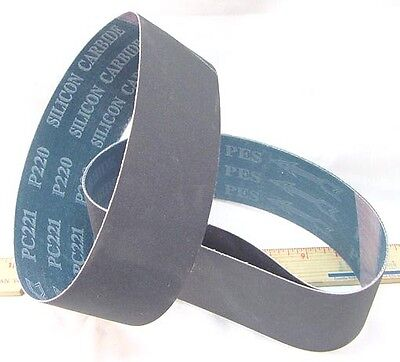 """BUTW (3) 220 grit Silicon Carbide lapidary grinding belt 6""""  x 2 1/2"""" drum"""