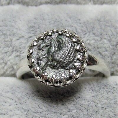 Authentic Ancient Greek Bronze Coin Size 7 Sterling Silver Ring Pegasus #195