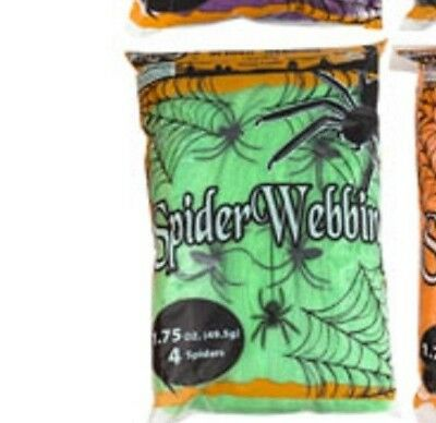 Spider Webbing - Green - 1.7 oz with 4 Spiders Halloween Decoration - Spooky Web
