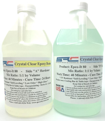 Epoxy Resin Crystal Clear Casting System 4 Coating Wood Table Top 2 Part Gal Kit