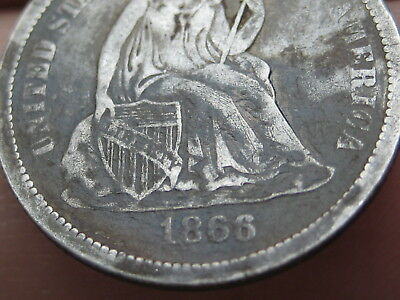 1866 P or S Seated Liberty Silver Dime- Fine/VF Details, Rare