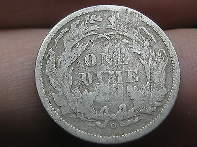 1860 O Seated Liberty Silver Dime- Fine Details, Very Rare Key Date