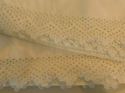 Vintage white crochet pillow cases~white on white~large size