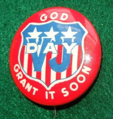 WWII VJ Day God Grant It Soon VICTORY OVER JAPAN Home Front Pin Button