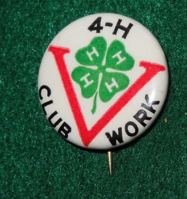 WWII US Military Patriotic 4H VICTORY Club Work Home Front Pin Button 4-H