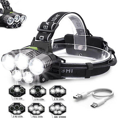 90000Lm 5X Xm-L T6 Led Headlamp Head Light Head Torch Flashlight Camping Lamp B