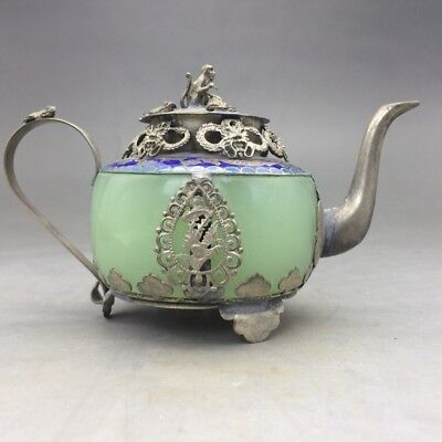 EXQUISITE CHINESE old decorative jade inlaid with silver monkey incense burner