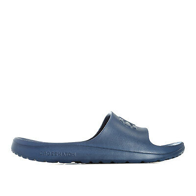 Mens Crosshatch Oreti Slider Beach Shoe In Navy- Slip On- Contoured Footbed-
