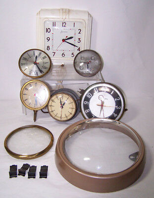 Lot of Vintage ELECTRIC Clock Movements & Parts: Sessions, Mastercrafter, United