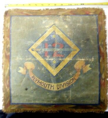 WW1  Very Rare 12th Plymouth Division Original Hand Painted Flag / Banner
