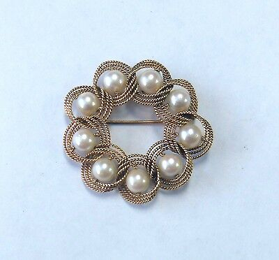 Vintage Lovely 14K Solid Gold Woven Rope 9 Cultured Pearl Large Brooch Pin