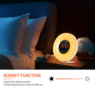 Wake Up Light Digital Alarm Clock w/ FM Colored Sunrise Simulation Touch Control