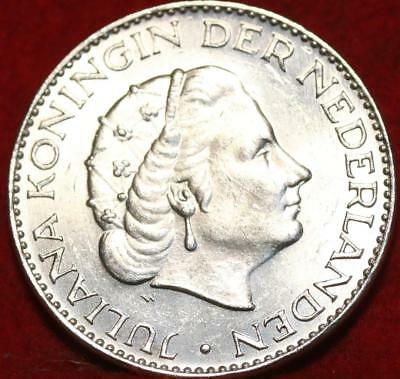 Uncirculated 1964 Netherlands 1 Gulden Silver Foreign Coin