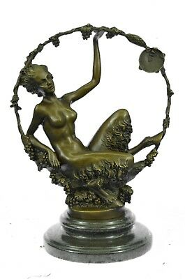 Art Nouveau HotCast Female Satyr by Aurore Onu Figurine Bronze Sculpture Statue