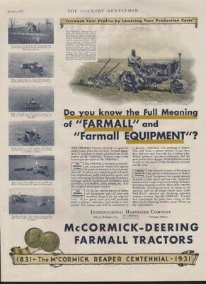 1931 International Harvester Farmall Tractor Outdoor Ad10369