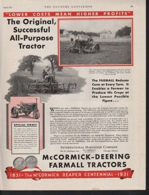 1931 International Harvester Tractor Combine Farm Tools12801