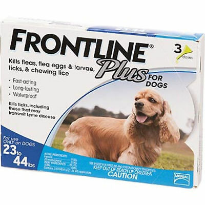Frontline Plus for Dogs Puppy Flea Tick Control Spot On 3 Doses 23-44 Pounds