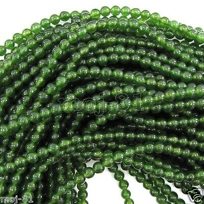4MM Natural Smooth Nephrite Green Jade Round Gemstone Loose Beads 15'' AAA