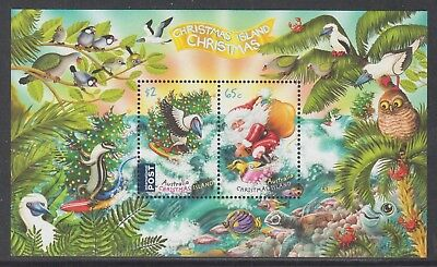 Christmas Island  2018 Christmas Mint unhinged mini sheet.  Booby,surfing Santa.