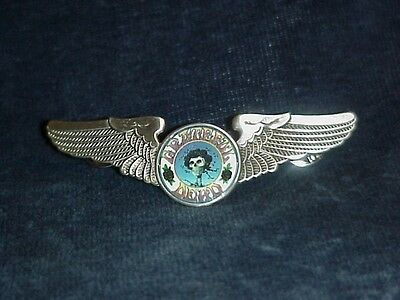 Large Grateful Dead Skull And Roses Wings Pin