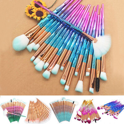20 Pcs Unicorn Diamond Make up Brushes Set Foundation Eyeshadow Eyeliner Powder