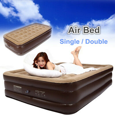 Double Single Luxury High Air Bed Inflatable Mattress Couch Sleeping Mat Flocked