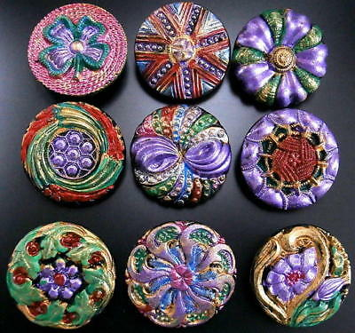 Collection of 9 Czech ANTIQUE (1920's) Glass Buttons #B025 - 22 mm - RARE !!!