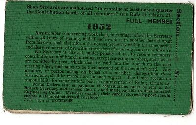 Amalgamated Engineering Union member card & testimonial note. 1952. & 1937.