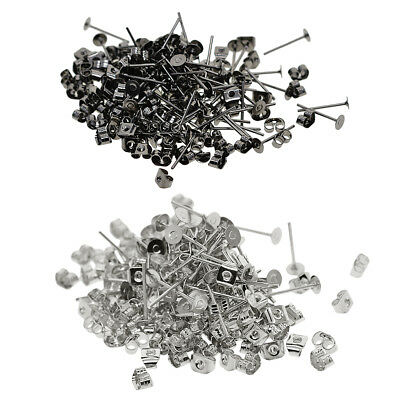 400 Pack 4mm Blank Flat Pad Base Earring Posts with Back DIY Making Findings