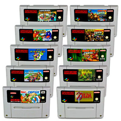 SNES Spiel Mario World Mario Kart Zelda Donkey Kong 1 2 3 Secret of Mana Asterix
