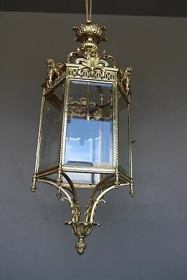 Large impressive antique solid brass hall lantern with cut glass panels ornate