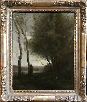 COROT - 19th CENTURY SIGNED FRENCH BARBIZON OIL ON PANEL - FIGURE BY A LAKE