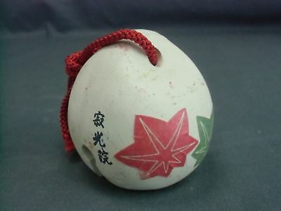 Japanese Clay Bell Dorei Maple Leaf Vtg Pottery Ceramic Hand Made Yakimono DR75