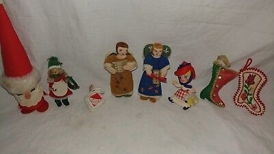Vintage Fabric Christmas Decorations Lot Holiday Decorations Lot of 8
